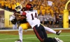 Sep 9, 2017; Tempe, AZ, USA; Arizona State Sun Devils wide receiver Frank Darby (left) catches a pass against San Diego State Aztecs safety Tariq Thompson (14) at Sun Devil Stadium. Mandatory Credit: Mark J. Rebilas-USA TODAY Sports