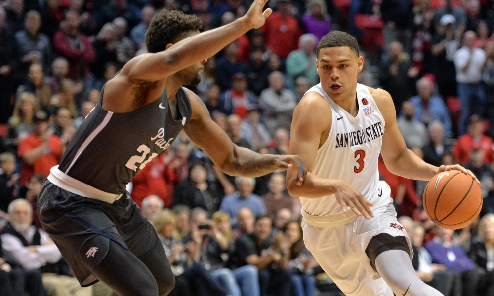 Mar 3, 2018; San Diego, CA, USA; San Diego State Aztecs guard Trey Kell (3) dribbles guarded by San Diego State Aztecs forward Nolan Narain (24) during the first half at Viejas Arena. Mandatory Credit: Jake Roth-USA TODAY Sports