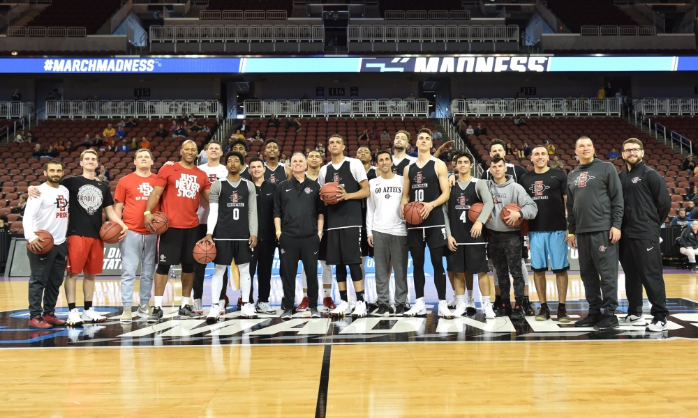 Mar 14, 2018; Wichita, KS, USA; San Diego State Aztecs players and coaches pose for a photo during the practice day before the first round of the 2018 NCAA Tournament at INTRUST Bank Arena. Mandatory Credit: Peter G. Aiken-USA TODAY Sports