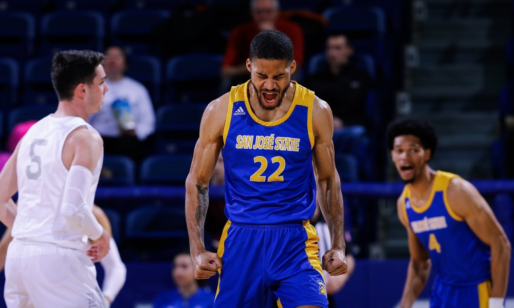 Feb 15, 2020; Colorado Springs, Colorado, USA; San Jose State Spartans guard Richard Washington (22) reacts after a play in the first half against the Air Force Falcons at Clune Arena. Mandatory Credit: Isaiah J. Downing-USA TODAY Sports